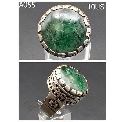 Old Medieval Crusades Phantom Tourmaline Stone REAL SILVER Ring Size 10 #A55