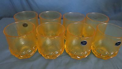 Franciscan Crystal Glasses Madeira Old Fashioned Tumbler Yellow NOS set of 8