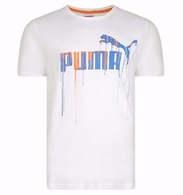 Men's New Puma Logo T-Shirt Top - All Sizes -  White