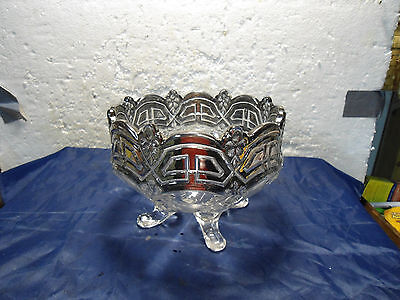 Antique US Glass Co  marked Glass Footed Bowl Silver or mercury overlay