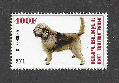 Dog Art Full Body Portrait Postage Stamp OTTERHOUND OTTER HOUND Burundi 2011 MNH