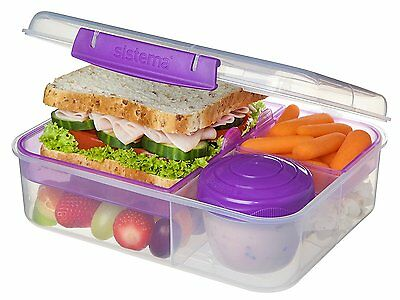 Sistema 1.65L Bento Lunch Box Tiffin Food Container with Fruit Yogurt Pot 21690