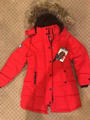Canada Weathergear Girls Red Puffer Hooded Parka Winter Coat Sz 10/12 NWT