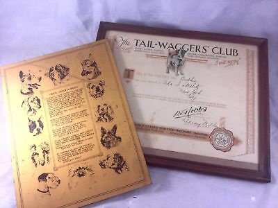 1930s Tail-Waggers Club Certificate and Tin Metal Wall Hanging with Verses ab...
