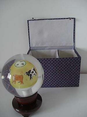 Bnib - Amazing Chinese Reverse Hand Painted Vintage Glass Sphere Ball On Stand