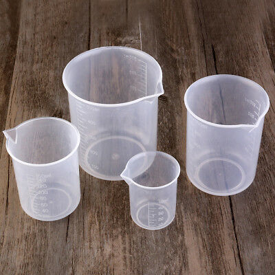 4 Size Kitchen Labratory Plastic Graduated Beakers Measuring Container Clear