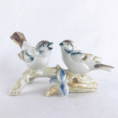Porcelain Two Sparrows Brown Birds on Branch Figurine Blue Leaves