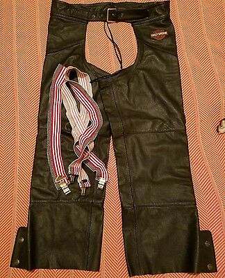 Harley Davidson Men's Leather Chaps Size XL with American Flag Suspenders