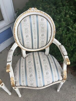Italian Made Louis XVI Style Giltwood Parlor Set Settee and 2 Chairs Chicago
