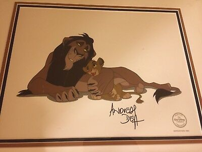 Disney The Lion King Scar & Simba Sericel Cel Framed Signed By Andreas Deja