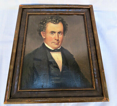 Antique 1800/1900's Early American Painting Gentleman Oil on Board