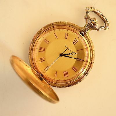 Vintage 16s TIMEX Manual Wind Hunter Case Pocket Watch For parts or repair