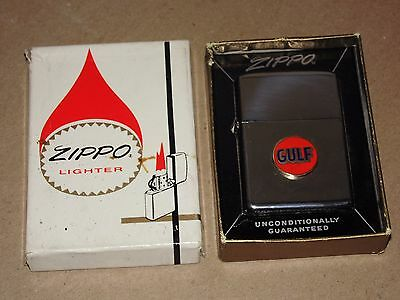 Vintage Unused Zippo Gulf Lighter In Original Box With Instructions - 1960's?