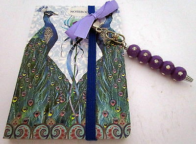 Peacock Design Pocket Notebook With Purple & Diamante Bling Pen Birthday Gift Bn