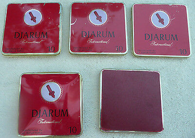 DJARUM International Vintage Red Tin Metal Cigarette Case Lot of 5
