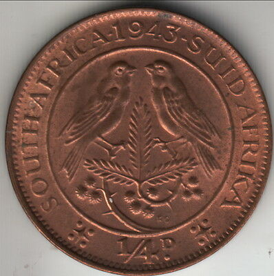 1943 British South Africa farthing, RB choice uncirculated, KM-23 (#2)