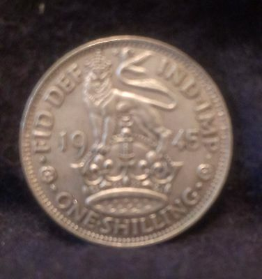 1945 Great Britain silver shilling, English crest, last year, KM-853 (GB3)