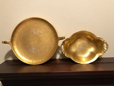 Vintage Pickard Etched China Gold Handled Bowl & Candy Dish With Rose & Daisy