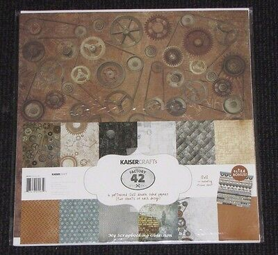 "Kaisercraft 'FACTORY 42' 12x12"" Paper Pk + Stickers Steampunk/Cogs/Men's KAISER"