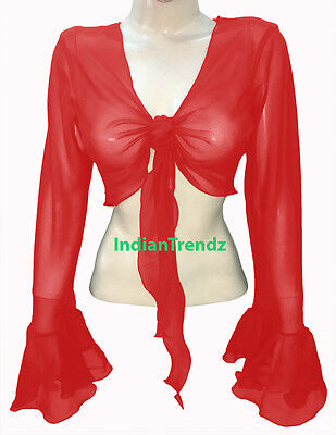 Red - Belly Dance Tie Top Flair Wrap Choli Gypsy Haut Orientale Blouse Ruffle