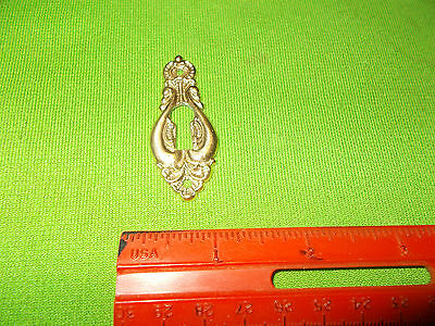VINTAGE FANCY BRASS CHINA CABINET BOOKCASE CLOSET DOOR Escutcheon Key Hole Cover