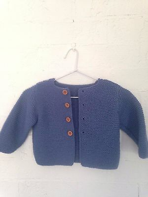 Hand Knitted Baby Boy Cardigan Long Sleeves -Denim Blue-  12 Months Old- New