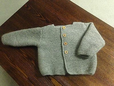 Hand Knitted Baby Boy Cardigan Long Sleeves -Grey-  6 Months Old- New