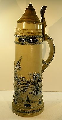 "shlf ANTIQUE 14"" lg SALT GLAZE STONEWARE STEIN Washington Crossing the Delaware"