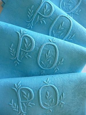 "11 Antique French Linen Napkins ""turquoise "" Monogrammed Linen Large Napkins"