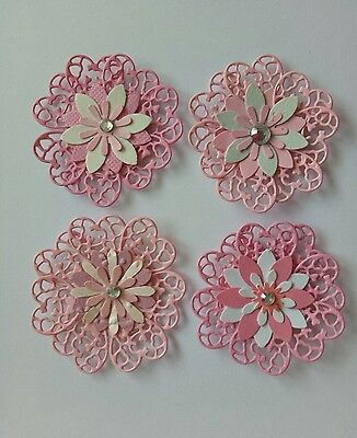 4 pretty pink handmade flowers multy layered card/scrapbooking