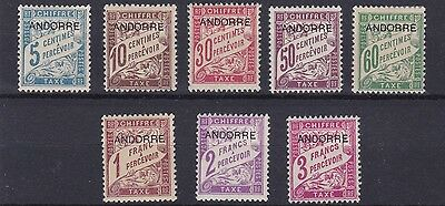 Andorra   1931    S G Fd24 - Fd31  Set  Of 8 Postage Dues    Lmh    Cat £80