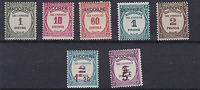 Andorra   1931 - 32    S G Fd32 - Fd38   Postage Due Set    Mh    Cat £650