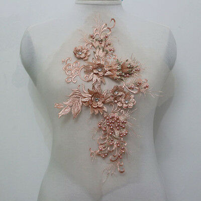 1Pcs 3D Flower Embroidery Tulle Rhinestone Beaded Applique/Patch Motif Sew On
