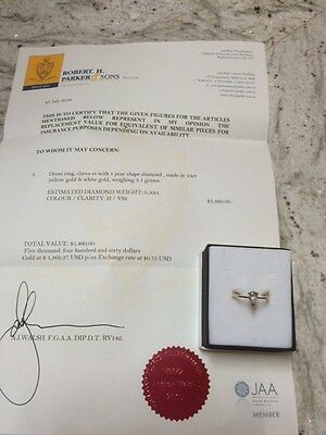 Diamond Pear Shaped Ring 18Ct As New!!!