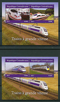 Central African Rep 2017 MNH High-Speed Trains 2x 2v M/S Railways Stamps