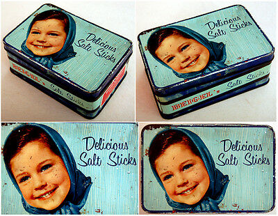 1950 Israel KOSHER BISQUIT Litho TIN BOX Jewish GIRL Judaica SALTED STICK Beigel