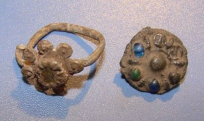 Ancient bronze ring (fragment  ring) Middle Ages original