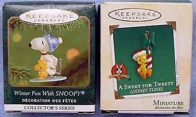 2 Hallmark Miniature Ornaments Winter Fun with Snoopy #4 and A Sweet for Tweety