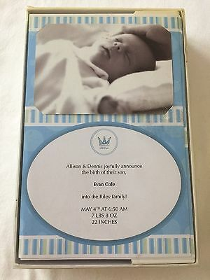 """NEW Wilton Baby Blue Print Your Own Birth Announcements """"Little Prince"""" 50 ct"""