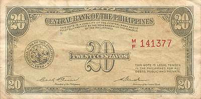 Philippines  20  Centavos 1949  Series  M/F Circulated Banknote MX1116SF