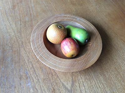 hand turned wooden fruit bowl with carved fruit