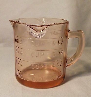 Pink Glass Measuring Cup with 3 Spouts, Reproduction