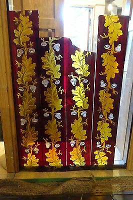Hand Painted Stained And Etched Glass Border Panes