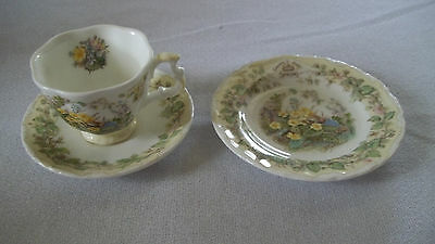 C Royal Doulton Brambly Hedge Miniature Tea Set Cup Saucer Plate Spring
