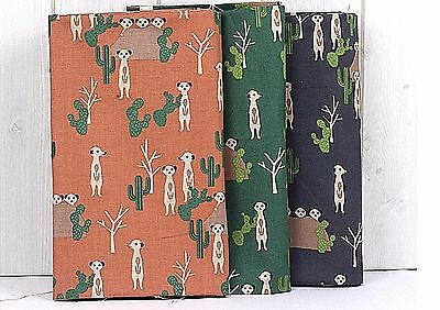 Desert Meerkats 100% Cotton Fabric Green Animal Cactus Quilting offcuts H2/21<