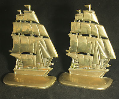 Antique Brass Ships Bookends Clipper Nautical Sailing Display Sails