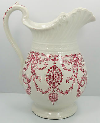 Dudson Wilcox & Till Hanley England Red & White Ribbon / Wreath Pitcher Gloria