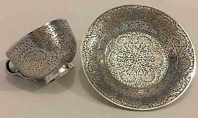 EXQUISITE ANTIQUE ISLAMIC PERSIAN INDIAN KASHMIR SILVER TEACUP & SAUCER 240g