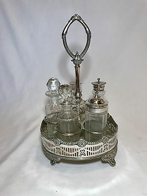 Rare Footed Silver English Six Piece Cruet Set - Marked on Bottom
