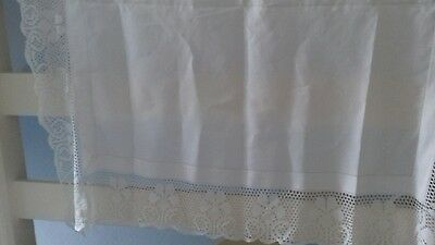 Vintage Tablecloth with Deep Crocheted Lace Border